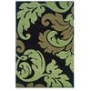 Linon Corfu Collection Black & Lime 1.10 X 2.10
