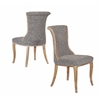 Sheffield Charcoal Flared Back Chair Dark Natural Brown Set of 2