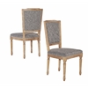 Nottingham Charcoal Square Back Chair Dark Natural Brown Set of 2