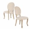 Bradford Linen Oval Back Chair Light Natural Brown Set of 2