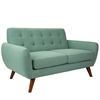 LumiSource Hemingway Mid-Century Modern Settee in in Teal Green