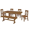 6-Piece Antique Brown Wood Dining Set