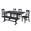 Walker Edison 6-Piece Black Wood Dining Set