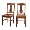 Dark Oak Wood Dining Chairs, Set of 2
