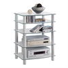 Walker Edison Silver Multilevel Component Stand