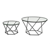Geometric Glass Nesting Coffee Tables - Black