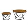Geometric Wood Nesting Coffee Tables - Oak/Black