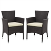 angelo:HOME Rattan Patio Dining Chair (Set of 2) - Brown