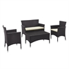 Walker Edison angelo:HOME 4-Piece Patio Chat Set - Brown