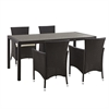 Walker Edison angelo:HOME 5-Piece Rattan Patio Dining Set - Brown