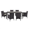 Walker Edison angelo:HOME 7-Piece Rattan Patio Dining Set - Brown