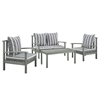 angelo:HOME 4-Piece Acacia Wood Conversation Set - Ocean Grey