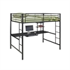 Walker Edison Black Metal Full Loft Bed with Workstation
