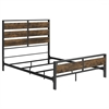 Queen Size Metal and Wood Plank Bed - Brown