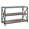 """40"""" X-Frame Metal and Wood Media Bookshelf - Driftwood"""