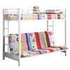Walker Edison Twin over Futon Metal Bunk Bed - White