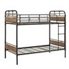 Twin over Twin Metal Wood Bunk Bed - Black