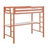 Walker Edison Bentley Twin Metal Loft Bed with Workstation - Coral