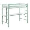 Walker Edison Bentley Twin Metal Loft Bed with Workstation - Mint