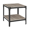 Angle Iron Rustic Wood End Table, Set of 2 - Driftwood