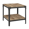 Angle Iron Rustic Wood End Table, Set of 2 - Barnwood