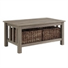 "40"" Wood Storage Coffee Table with Totes - Driftwood"