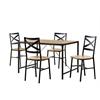 5-Piece Angle Iron Wood Dining Set - Barnwood
