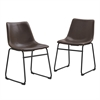 Walker Edison Brown Faux Leather Dining Chairs - Set of 2