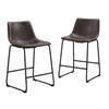 Walker Edison Brown Faux Leather Counter Stools - Set of 2