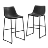 Walker Edison Black Faux Leather Barstools - Set of 2