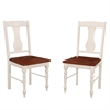 Solid Wood Turned Leg Dining Chairs, Set of 2 - Brown/White