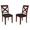 Solid Wood X-Back Padded Dining Chairs - Set of 2 - Espresso