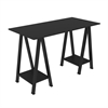 "48"" Wood Sawhorse Computer Desk - Black"
