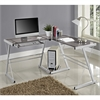 Walker Edison 3-Piece Contemporary Desk - Silver/Smoke