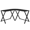Walker Edison X-frame Glass & Metal L-Shaped Computer Desk - Black/Black
