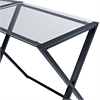 Walker Edison X-frame Glass & Metal L-Shaped Computer Desk - Clear/Black