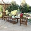 4-Piece Dark Brown Acacia Patio Conversation Set with Cushions
