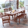 6-Piece Brown Acacia Patio Dining Set with Cushions