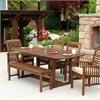 6-Piece Dark Brown Acacia Patio Dining Set with Cushions