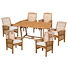Walker Edison 7-Piece Brown Acacia Patio Dining Set with Cushions