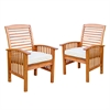 Walker Edison Brown Acacia Patio Chairs with Cushions (Set of 2)