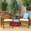 Walker Edison Dark Brown Acacia Patio Chairs with Cushions (Set of 2)