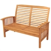 Acacia Wood Patio Loveseat Bench - Brown