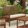 Acacia Wood Patio Loveseat Bench - Dark Brown