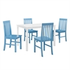 Walker Edison Greyson 5-Piece Dining Set - White/Powder Blue