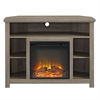 "44"" Wood Corner Highboy Fireplace TV Stand - Driftwood"