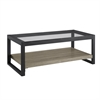 "Walker Edison 48"" Urban Blend Coffee Table with Glass Top - Driftwood/Black"
