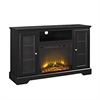"52"" Highboy Fireplace Wood TV Stand Console - Black"