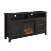 "Walker Edison 58"" Wood Highboy Fireplace TV Stand - Espresso"