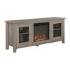 "Walker Edison 58"" Fireplace Stand with Doors - Driftwood"